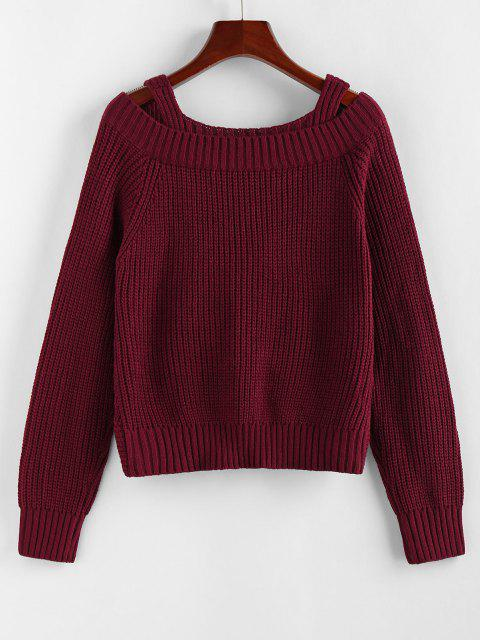 fashion ZAFUL Twisted Raglan Sleeve Cold Shoulder Jumper Sweater - DEEP RED S Mobile