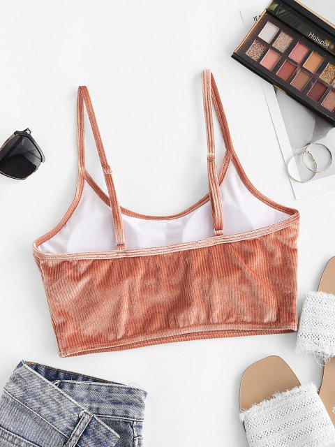 ZAFUL Top de Bikini de Canalé de Terciopelo - luz naranja S Mobile