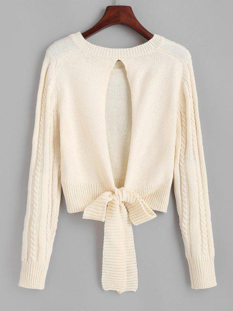 trendy Cut Out Tie Back Cable Knit Sweater - LIGHT COFFEE ONE SIZE Mobile