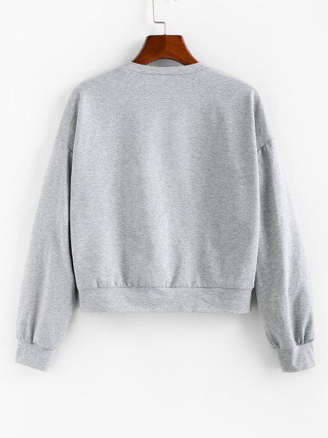 ZAFUL Slogan Butterfly Print Drop Shoulder Sweatshirt - رمادي فاتح L Mobile