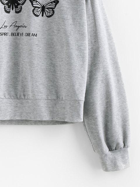 ZAFUL Sweat-shirt Papillon et Slogan Imprimés à Goutte Epaule - Gris Clair L Mobile