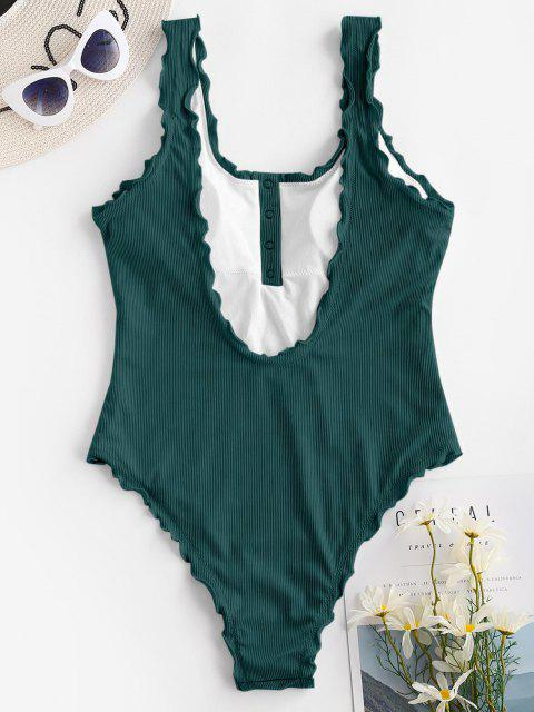 lady ZAFUL Ribbed Snap Button Backless One-piece Swimsuit - DEEP GREEN S Mobile
