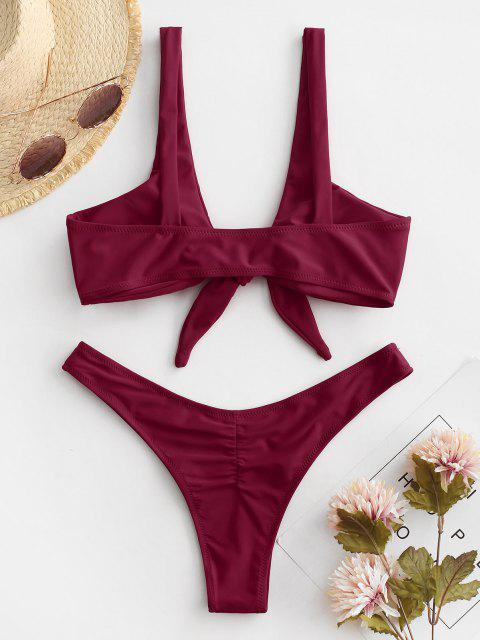 fancy Scrunch Butt Knotted Thong Bikini - BURGUNDY M Mobile