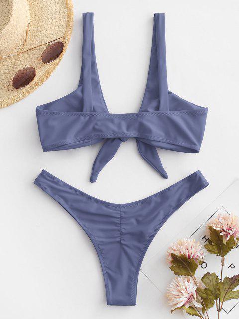 fancy Scrunch Butt Knotted Thong Bikini - GRAY XL Mobile