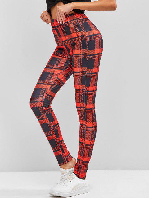 online Plaid Skinny Pants - RED L Mobile