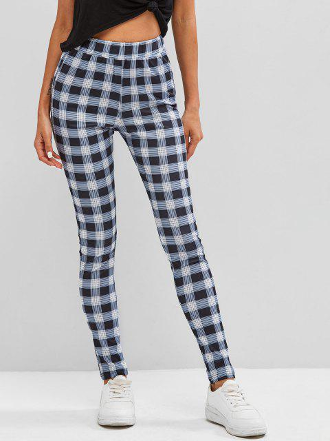 buy Plaid Skinny Pants - DARK GRAY M Mobile