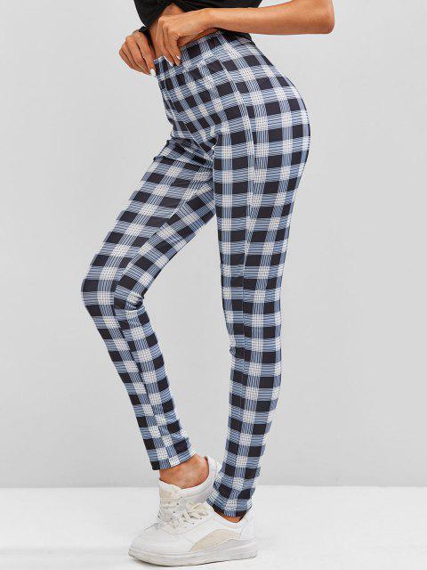 best Plaid Skinny Pants - DARK GRAY S Mobile
