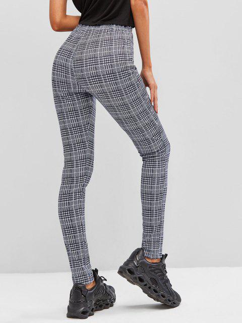 womens Plaid Skinny Pants - BLACK L Mobile