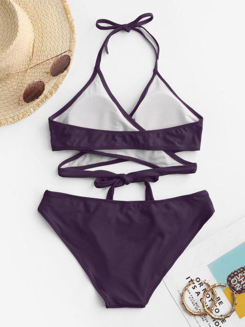 women's ZAFUL Halter Cut Out Wrap Bikini Set - DEEP PURPLE L Mobile