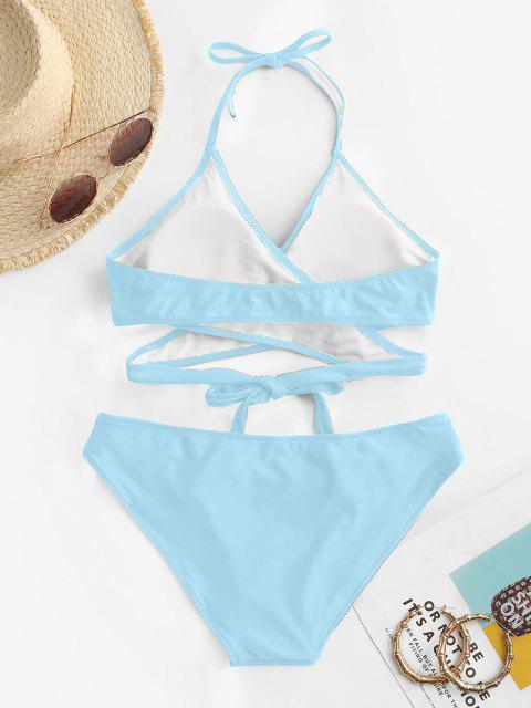 ZAFUL Ensemble de Bikini Enveloppé Découpé à Col Halter - Bleu Ciel Léger  M Mobile