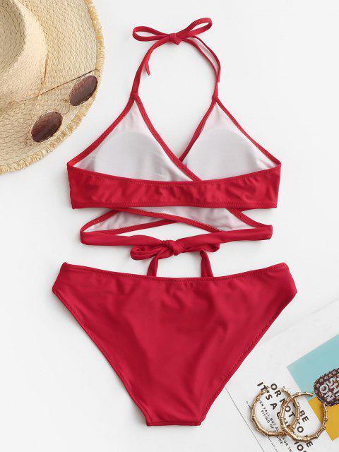 ZAFUL Conjunto de Bikini Envuelto de Halter de Recorte - Rojo M Mobile