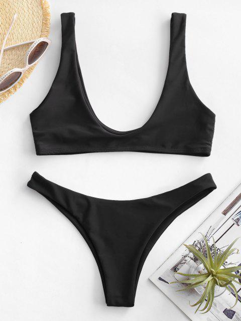 hot High Cut Bikini Set - BLACK S Mobile