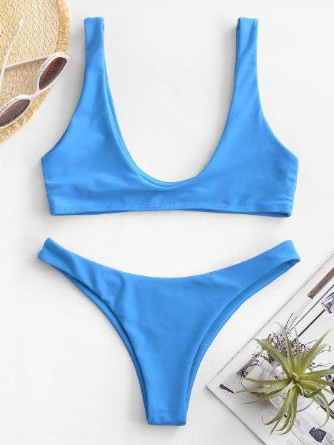latest High Cut Bikini Set - BLUE M Mobile
