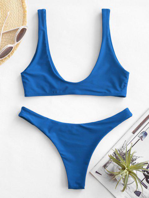 hot High Cut Bikini Set - DODGER BLUE S Mobile