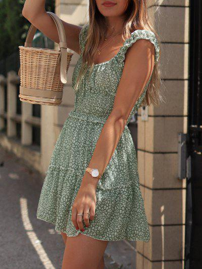 Smocked Printed Sleeveless A Line Dress - Green M