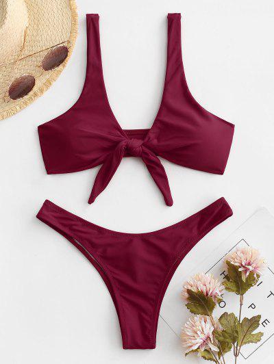 Scrunch Butt Knotted Thong Bikini - Burgundy M