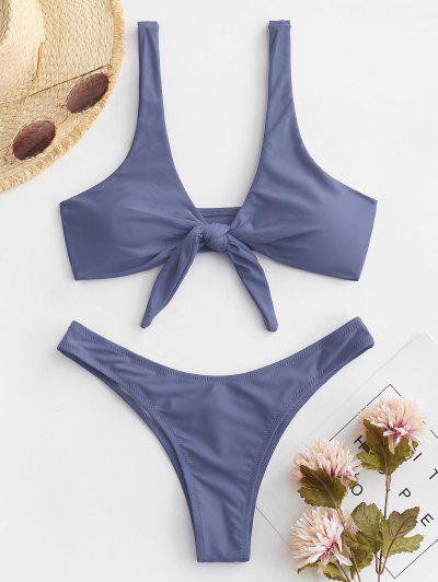 Scrunch Butt Knotted Thong Bikini - Gray S