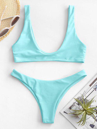 High Cut Bikini Set - Turqoise M