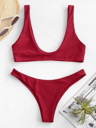 High Cut Bikini Set - Red M