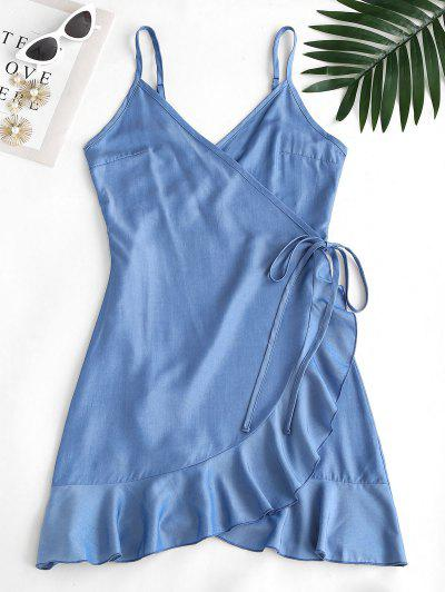 ZAFUL Sheeny Chambray Flounce Wrap Dress - Light Blue S