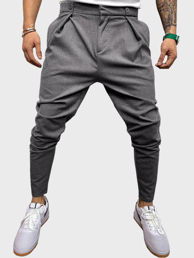 Button Detail Tapered Casual Pants - Gray S