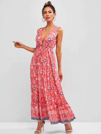 Ditsy Floral Tied Ruffle Hem Sleeveless Maxi Dress - Light Pink M