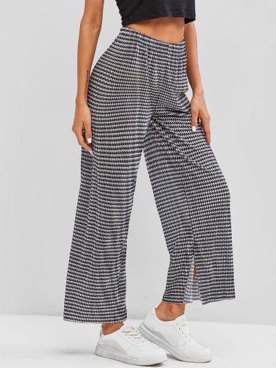Houndstooth Print Side Slit Palazzo Pants - Black