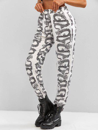 Pantalon De Jogging DragonOrientalImprimé à Coupe Haute - Noir M