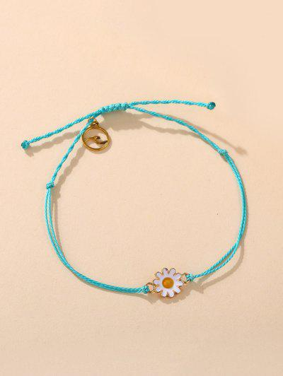 Daisy Floral Adjustable Rope Bracelet - Light Sky Blue