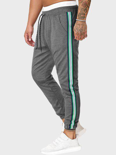 Drawstring Side Striped Sports Pants - Gray 2xl