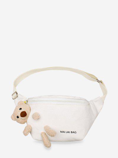 Bear Embellished Canvas Crossbody Bag - White