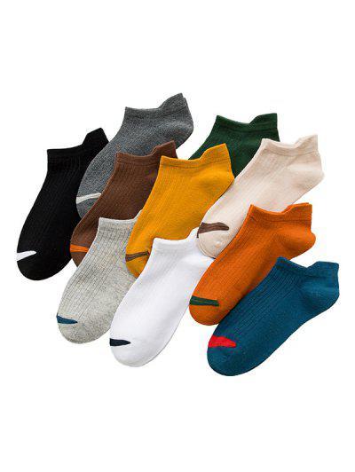 10Pairs Colorblock Anti-friction Heel Socks Set - Multi-a