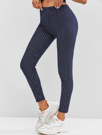 High Waisted Contrast Stripes Leggings - Deep Blue