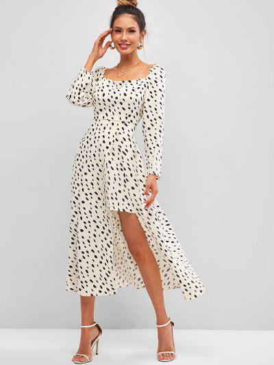 Dalmatian Dots Smocked Back Front Slit Milkmaid Dress - White L
