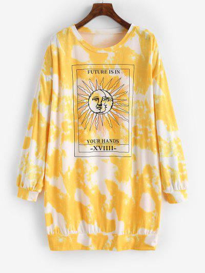 Tie Dye Moon And Sun Drop Shoulder Sweatshirt Dress - Yellow S