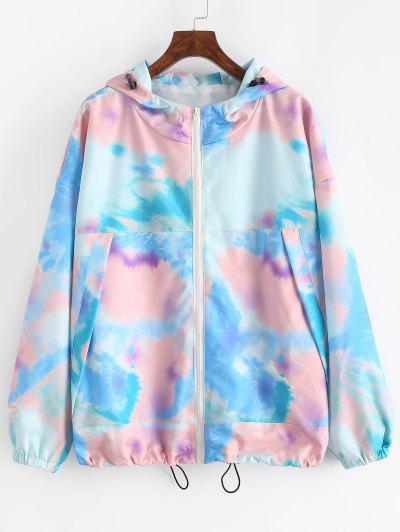 Hooded Tie Dye Drop Shoulder Toggle Drawstring Jacket - Blue L