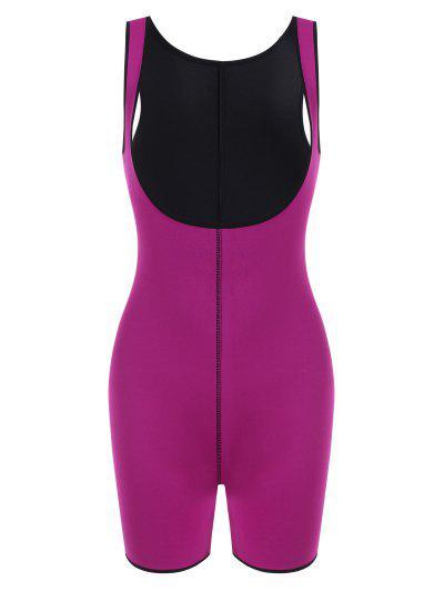 Open Bust Topstitching Slimming Corset Bodysuit Shaper - Purple L