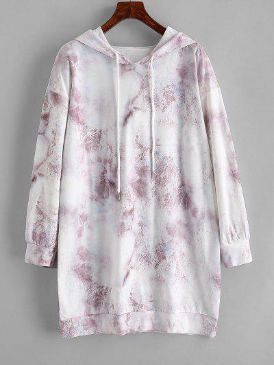 Tie Dye Drop Shoulder Mini Sweater Dress - Light Coffee L