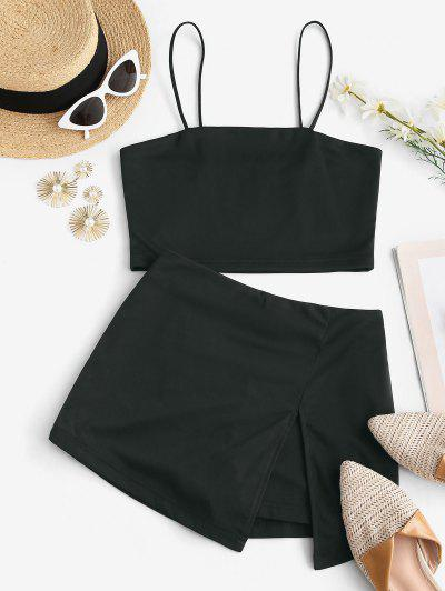 Bungee Strap Two Piece Skorts Set - Black S