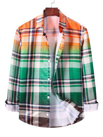 Ombre Plaid Long Sleeve Casual Shirt - Macaw Blue Green M