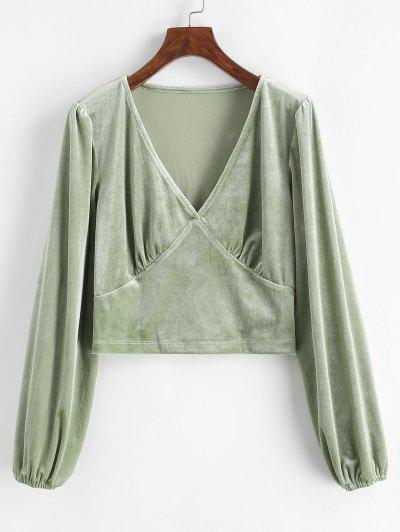 Crushed Velvet Long Sleeve Top - Light Green M