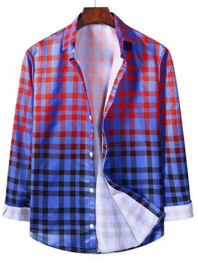 Camisa Quadriculada De Manga Comprida Com Padrão - Lava Vermelha Xl