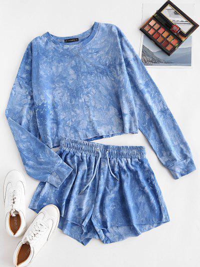 Sweat Tie Dye Raw Hem Two Piece Shorts Set - Blue S