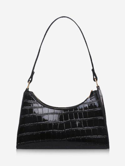 Textured Patent Leather Shoulder Bag - Black