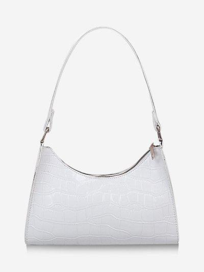 Textured Patent Leather Shoulder Bag - White