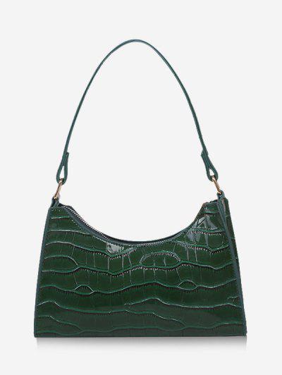 Bolsa De Ombro Texturizada Em Couro Com Faux - Verde Profundo