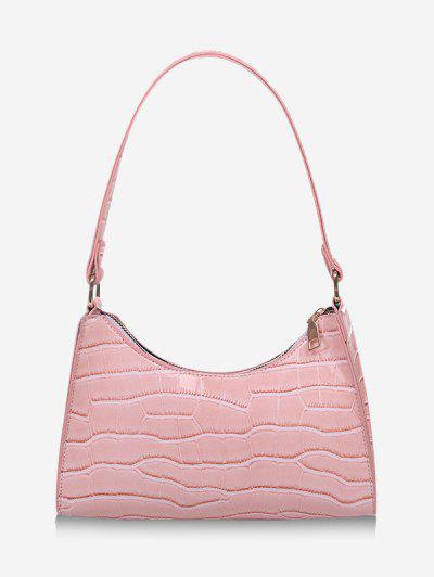 Textured Patent Leather Shoulder Bag - Light Pink