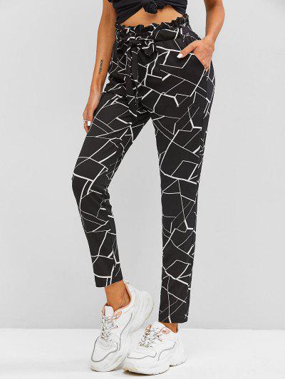 ZAFUL Geometry Paperbag Pants - Black M
