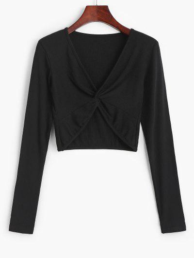 Twist Front Ribbed Cropped Knitwear - Black S