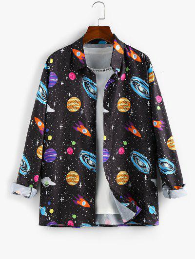ZAFUL Принт вселенной и планеты На пуговицах Рубашка - Чёрный 2xl